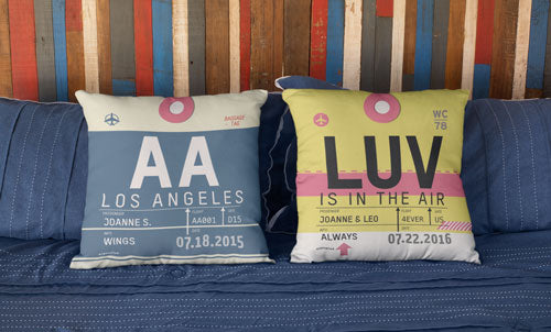 Airport and Airline Code Custom Pillows - Shop Here