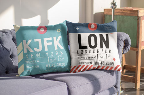 Flight Tag Cushions - Personalize here