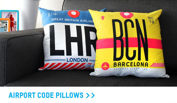 Airport code pillows collection