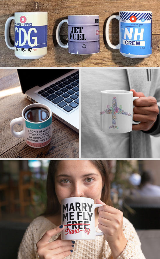 Aviation and Travel Themed Mugs