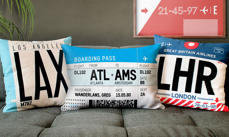 Create your own boarding pass throw pillow