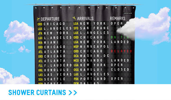 Aviation and travel shower curtain collection