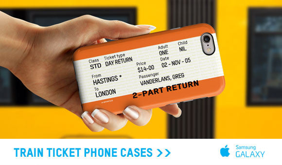 Train ticket phone cases
