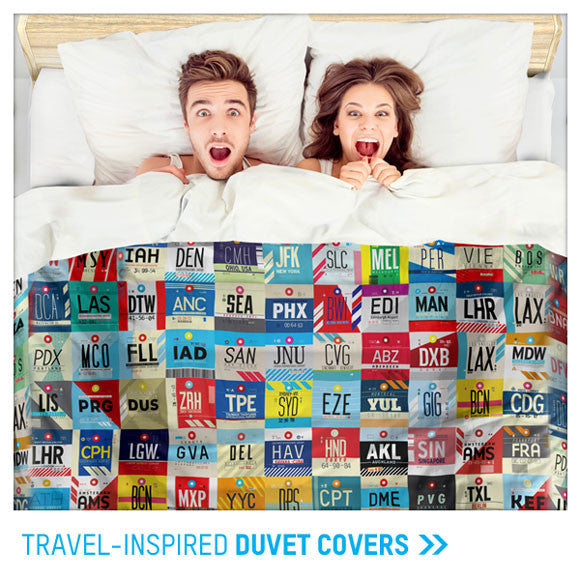 travel and aviation themed duvet covers