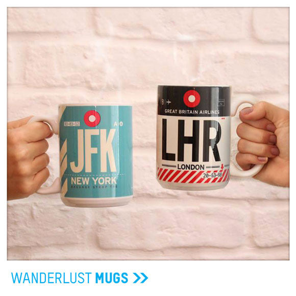 Travel and aviation themed mugs