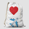 Emoji Heart Plane - Laundry Bag - Airportag
