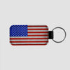 USA Flag - Leather Keychain - Airportag