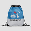 Kiss and Fly - Drawstring Bag - Airportag