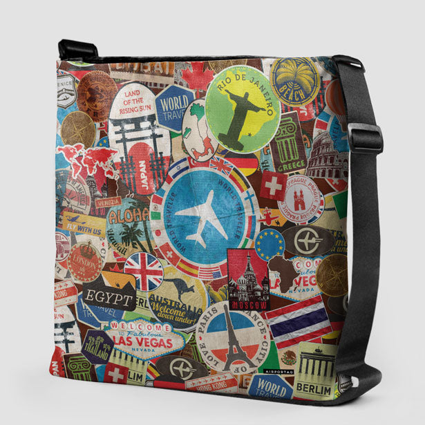 Travel stickers tote bag