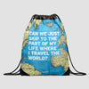 Can We Just - World Map - Drawstring Bag - Airportag