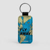 Fly Away - World Map - Leather Keychain - Airportag