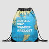 Not All Who - World Map - Drawstring Bag - Airportag