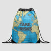 Take Risks - World Map - Drawstring Bag - Airportag
