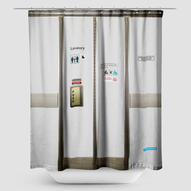 Shower Curtain Airplane Lavatory Airportag