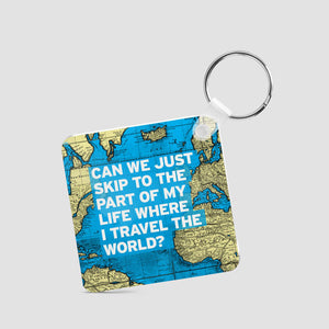 World map and travel quotes products airportag can we just world map square keychain airportag sciox Images