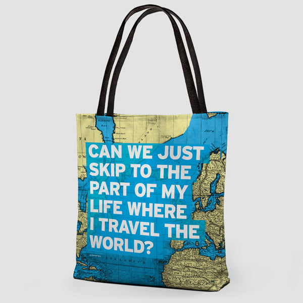 Tote Bag Travel Quote And World Map Airportag