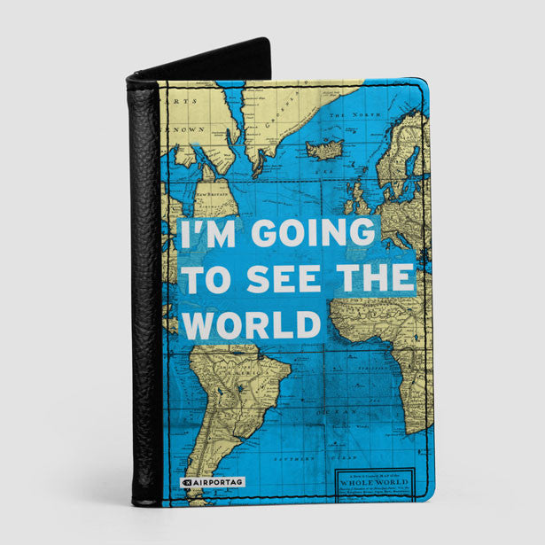 World Map Passport Holder.Travel Quote Passport Cover Airportag