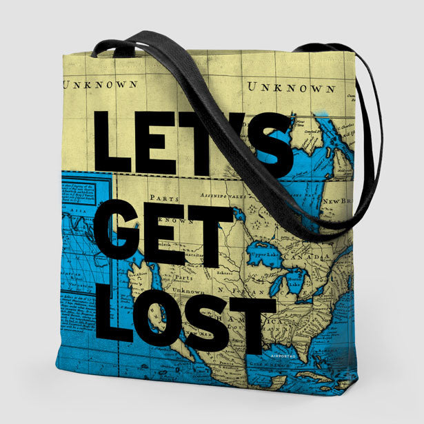 Tote bag travel quote and world map airportag lets get world map tote bag gumiabroncs Image collections