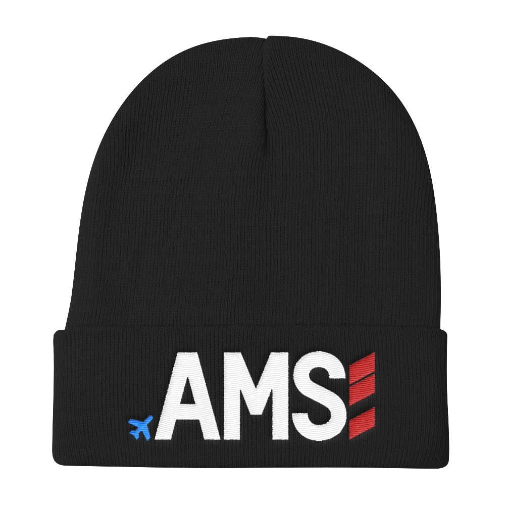 AMS - Airport Code Knit Beanie - Exclusive hats for travel lovers ... 37dfea99964d