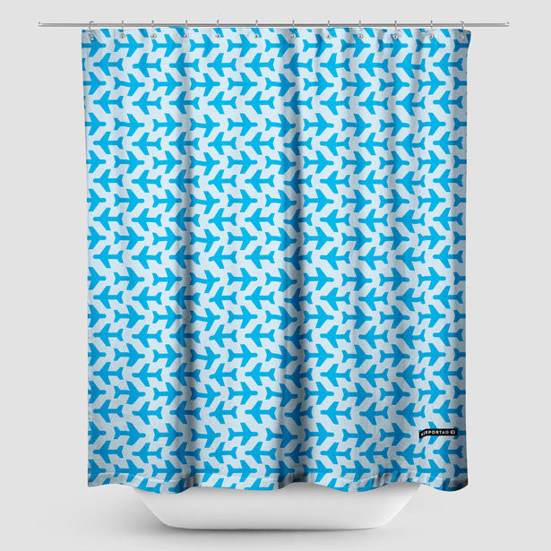 Shower Curtain With Small Planes Pattern Airportag