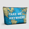 Take Me - World Map - Pouch Bag - airportag  - 1