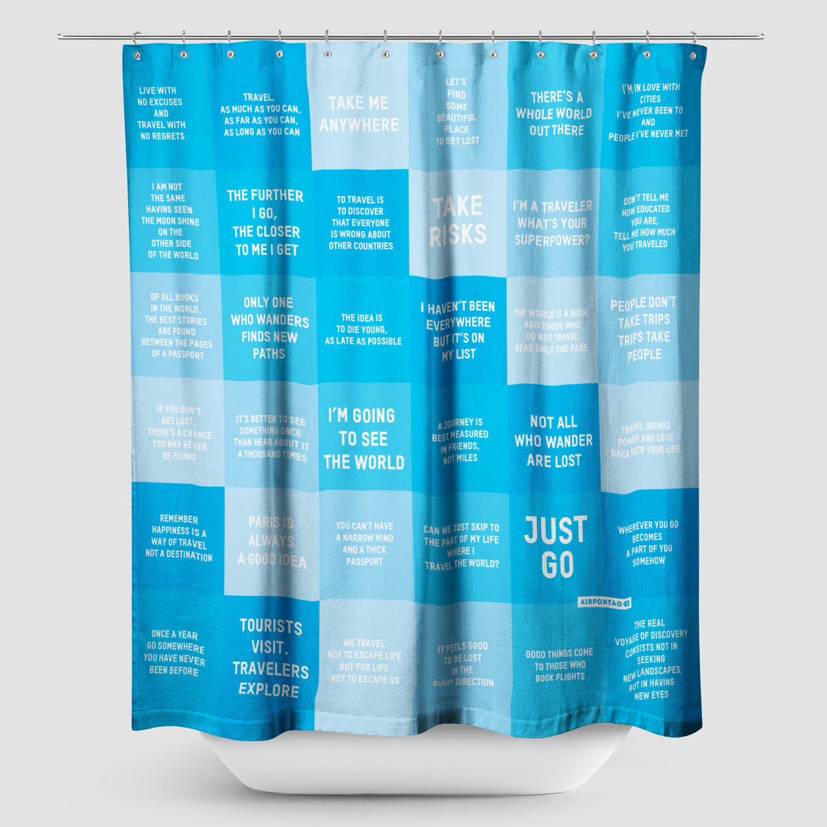 Travel Quotes   Shower Curtain   Airportag   1