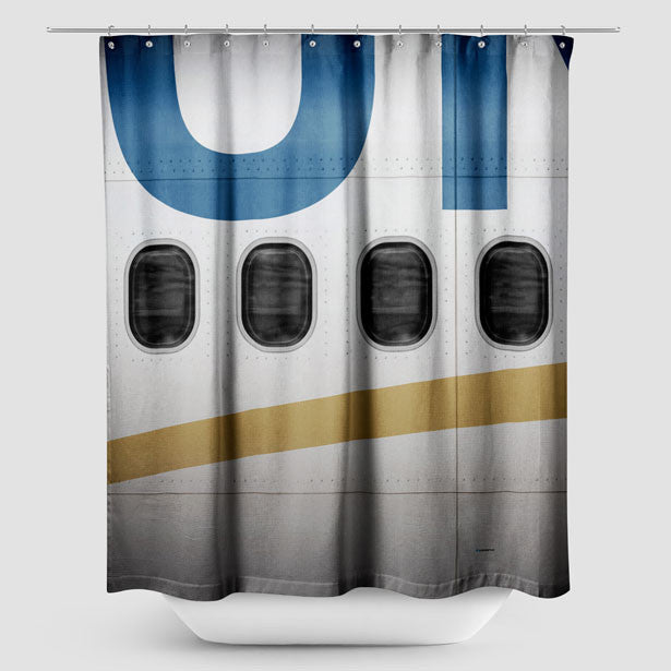 UA Plane   Shower Curtain. United Airlines Airplane Windows