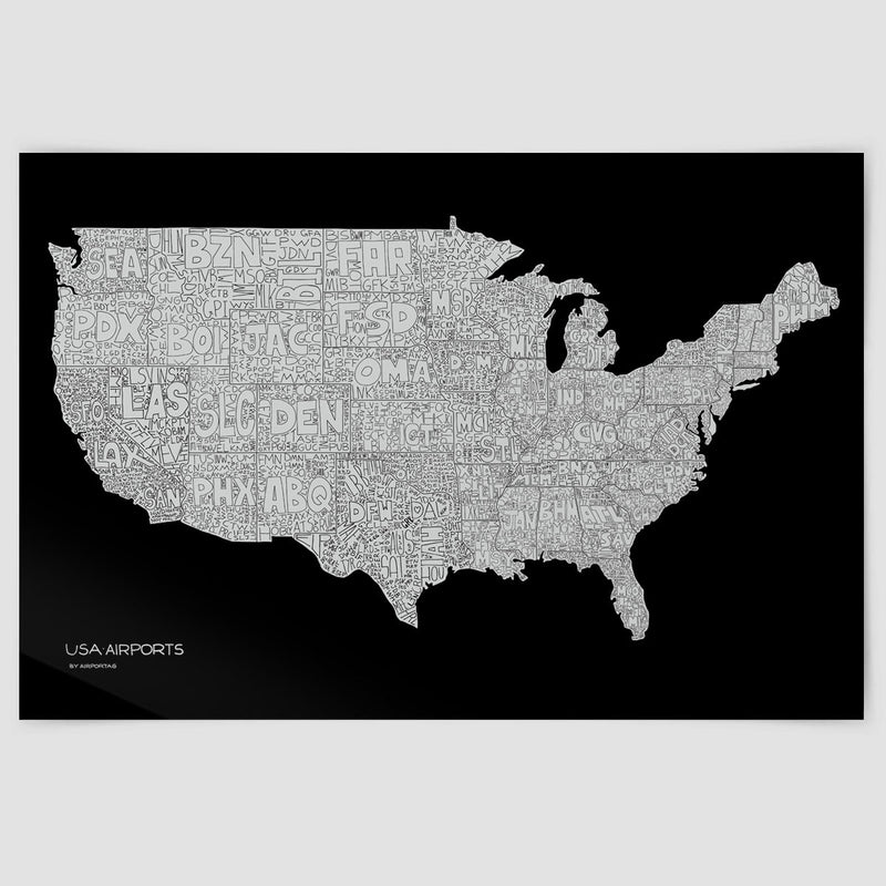 USA Airports Map Poster Airportag - Usa map black
