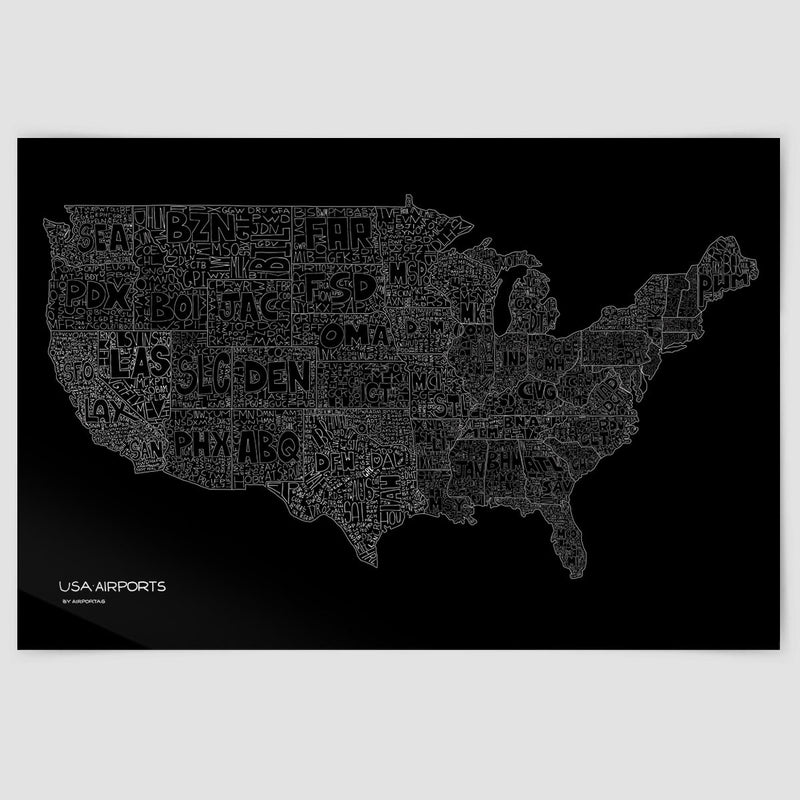 USA Airports Map Poster Airportag - Black and white usa map