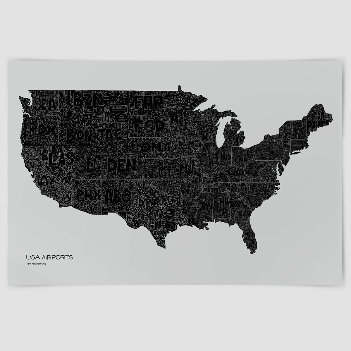 USA Airports Map - Poster