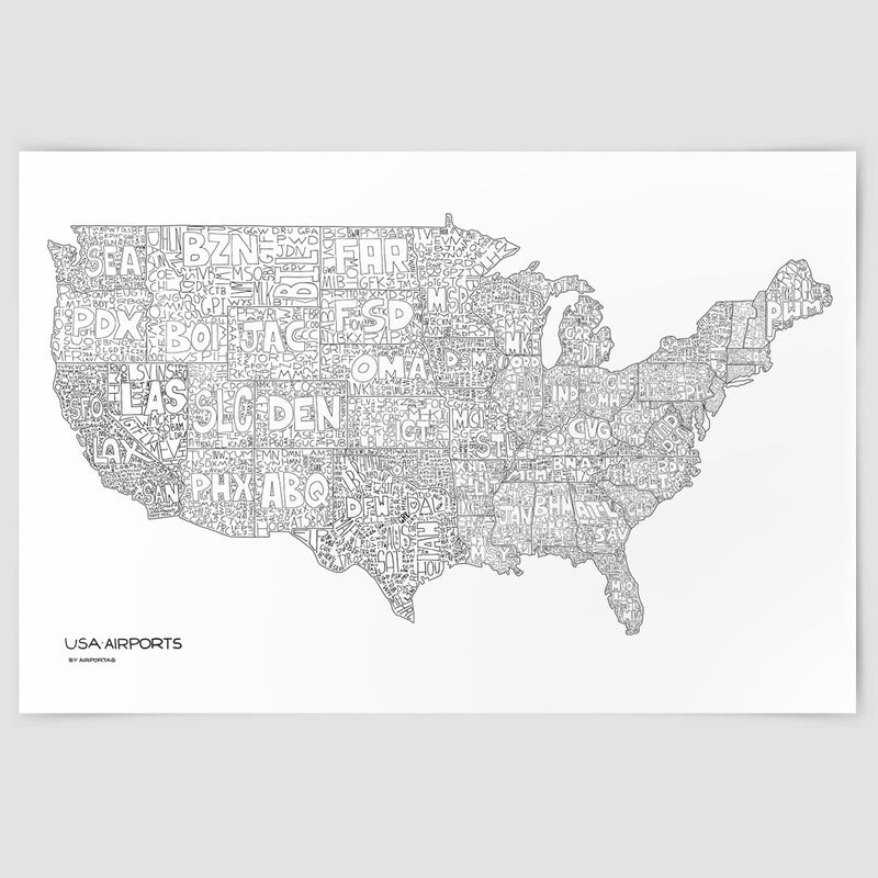 USA Airports Map Poster Airportag - Map of the us airports