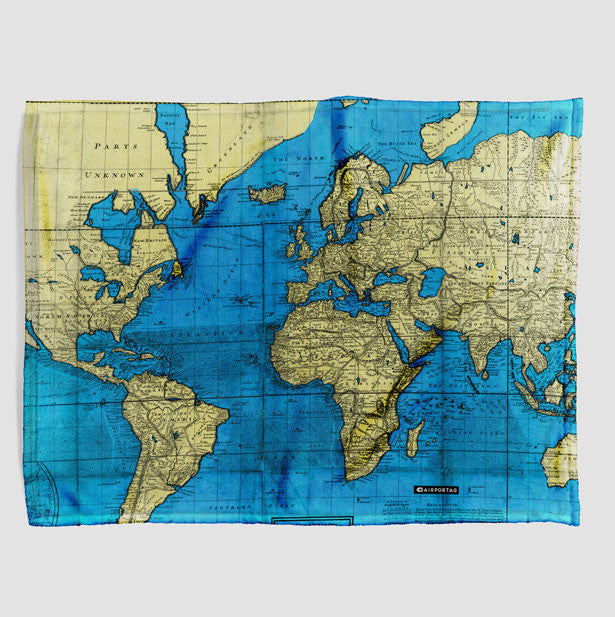 Throw Blanket World Map Airportag - World map blanket