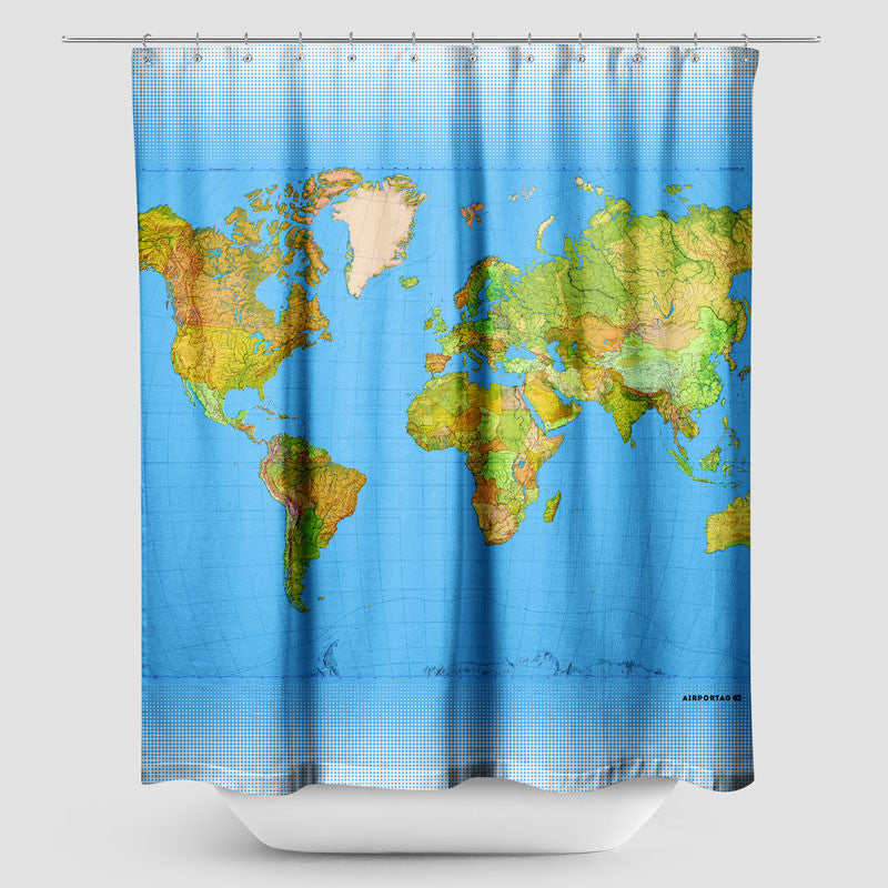 Shower curtain inspired on travel themes airportag world map shower curtain gumiabroncs Gallery