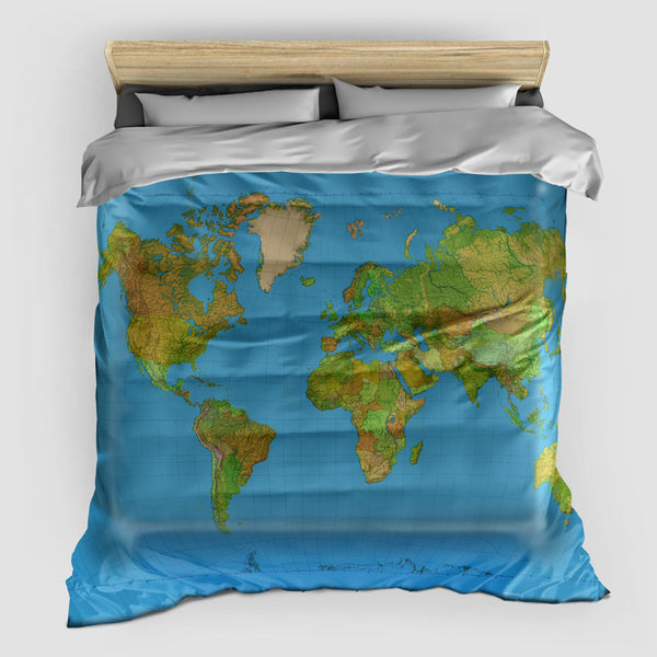 World Map- Duvet Cover
