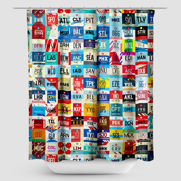 Shower Curtain Inspired On Travel Themes Airportag