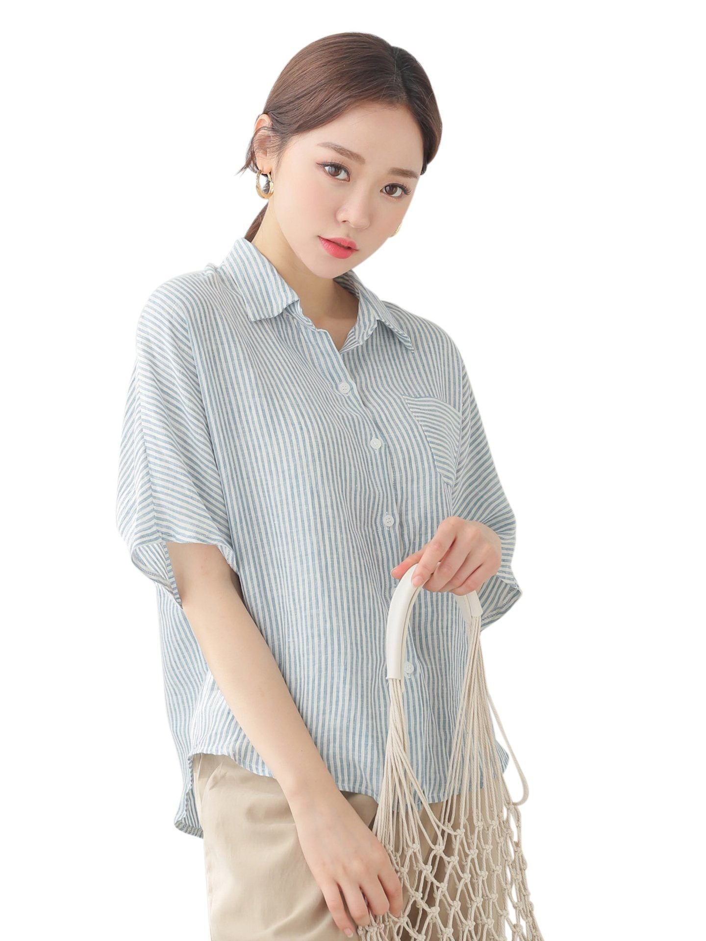 Blouse lin Manches Courtes Manches courtes Womens Korean Dress