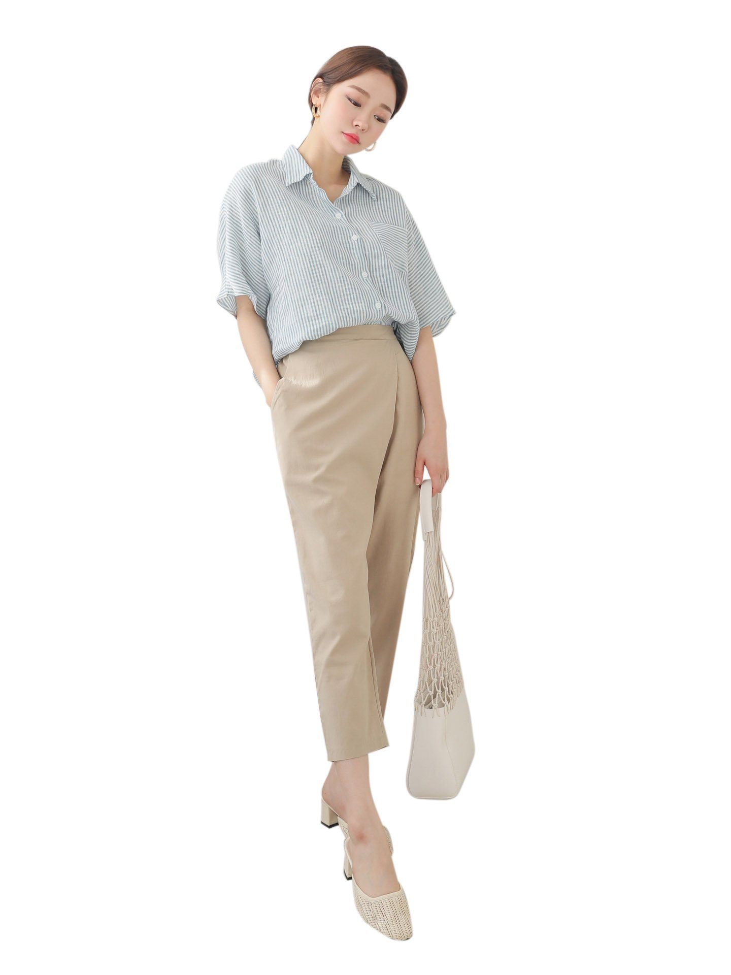 Blouse lin Manches Courtes Manches courtes Womens Clothing From Korea