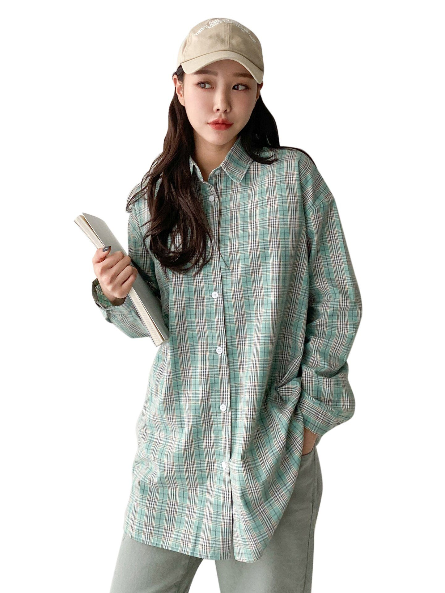 Chemise Oversize à Carreaux Women With Hat