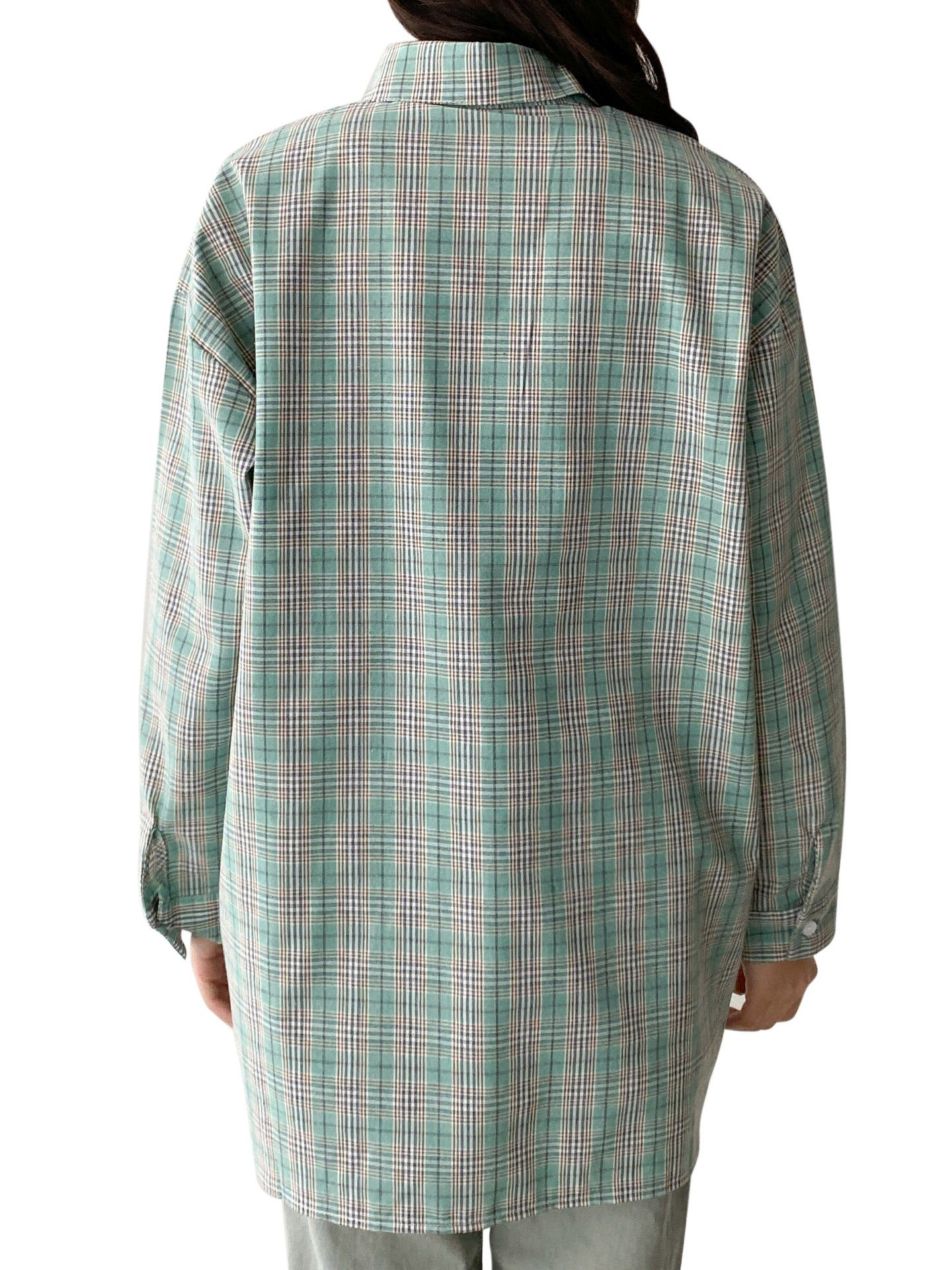 Chemise Oversize à Carreaux Korean Women Clothing