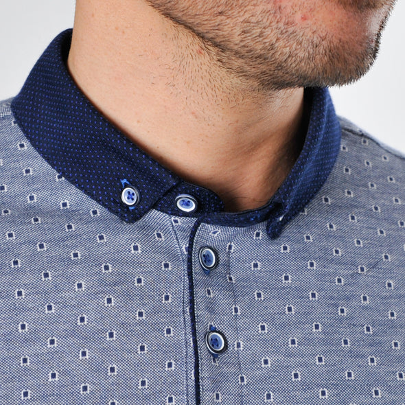 Patterned Cotton Polo Shirt - ACEPT - Blue