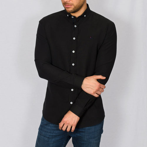 Slim Fit Oxford Long Sleeve Shirt – ALAND B - Black