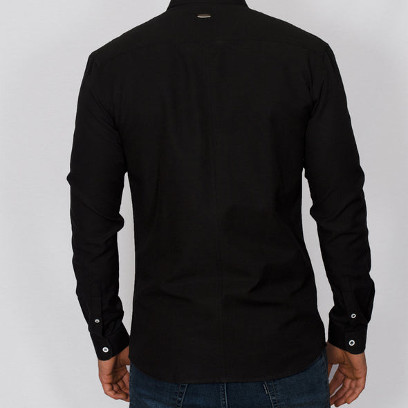 Slim Fit Oxford Long Sleeve Shirt - ALAND B - Black