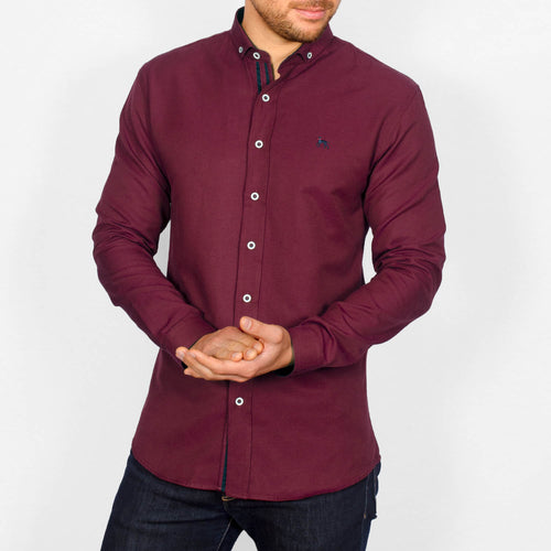 Slim Fit Oxford Long Sleeve Shirt – ALAND B - Burgundy