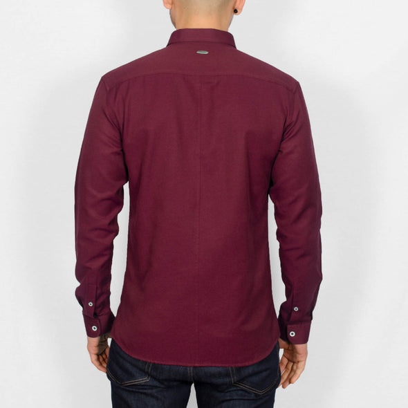Slim Fit Oxford Long Sleeve Shirt - ALAND B - Burgundy