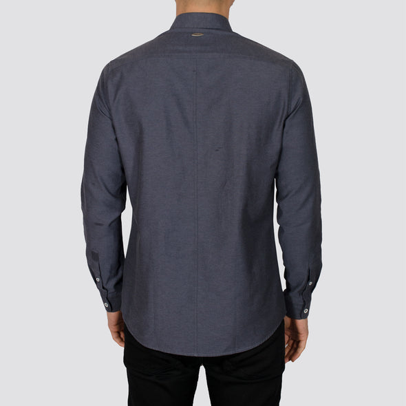 Slim Fit Oxford Long Sleeve Shirt - ALAND B - Charcoal