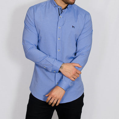 Slim Fit Oxford Long Sleeve Shirt - ALAND B - Chambray Blue