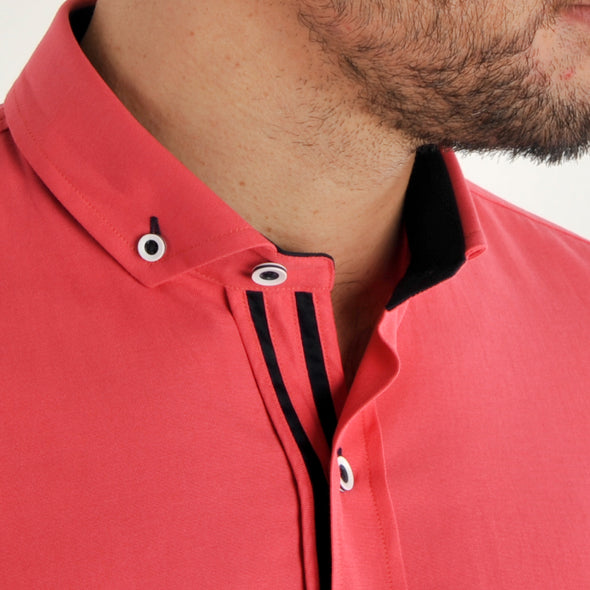 Slim Fit Oxford Long Sleeve Shirt - ALAND B - Coral