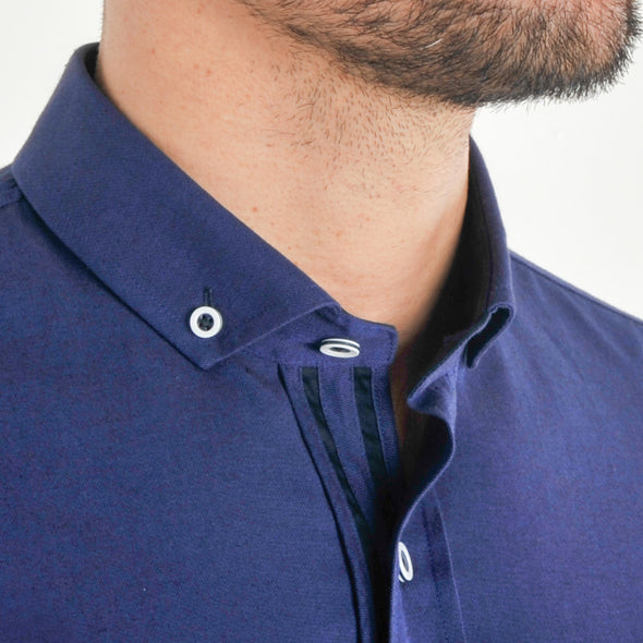 Slim Fit Oxford Long Sleeve Shirt - ALAND B - French Blue