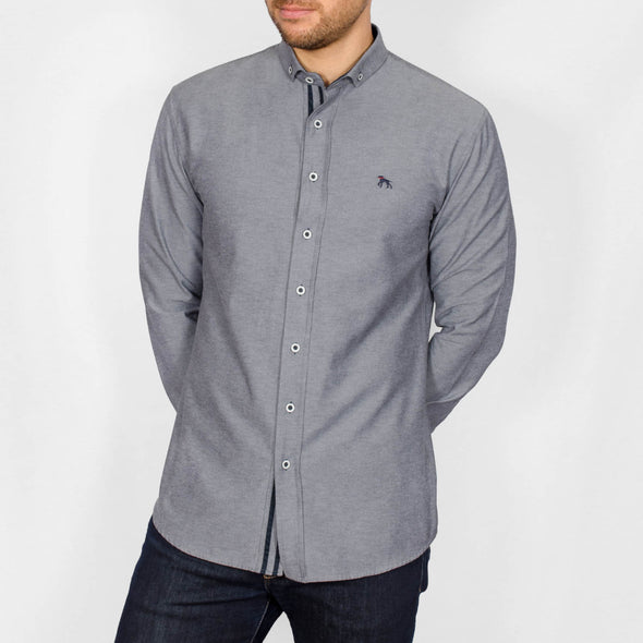 Slim Fit Oxford Long Sleeve Shirt - ALAND B - Grey