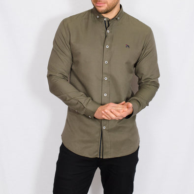 Slim Fit Oxford Long Sleeve Shirt - ALAND B - Khaki